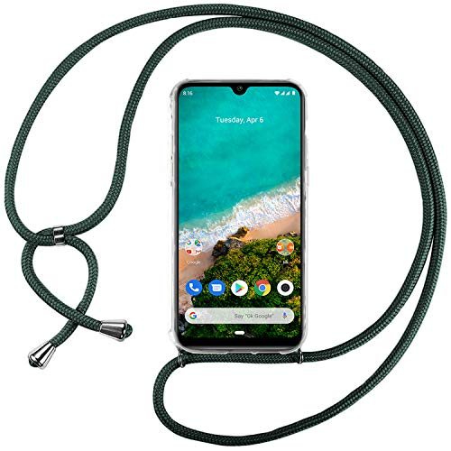 Ingen Funda con Cuerda para Xiaomi Mi A3 - Carcasa Transparente TPU Suave Silicona Case con Colgante - Verde Oscuro