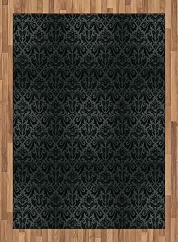 ABAKUHAUS Dark Grey Area Rug, Black Damask and Floral Elements Oriental Antique Ornament Vintage, Flat Woven Accent Rug for Living Room Bedroom Dining Room, 5.2' X 7.5', Black Grey