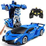Jeestam RC Cars Robot for Kids Remote Control Transformrobot Car Toys with Gesture Sensing One-Button Deformation Auto Demo, 1:14 Scale 360° Rotation Light Music, Best Gift for Boys Girls (Blue)