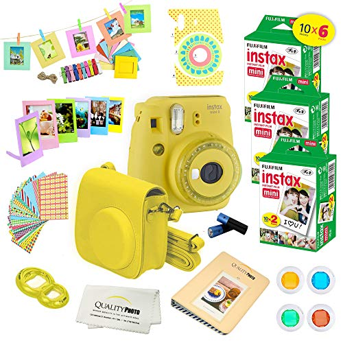 Fujifilm Instax Mini 9 Instant Camera w/Fujifilm Instax Mini 9 Instant Films (60 Pack) + A14 Pc Deluxe Bundle for Fujifilm Instax Mini 9 Camera (Yellow)