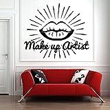 57X66 Cm Salón De Belleza Tatuajes De Pared Pintalabios Pintalabios Mercado Maquillaje Arte Etiqueta De La Pared Patrón Niña Sala Decoración Cosméticos