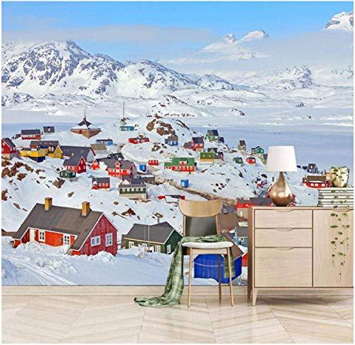 3D Murales Papel Pintado Pared Calcomanías Escena de nieve de la aldea inuit Decoraciones Fondo Del Sofá De La Sala De Estar Los Niños Dormit (W)400X(H)280Cm