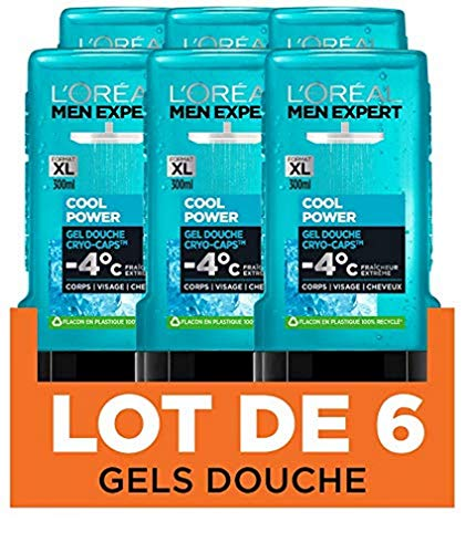 L'Oréal Men Expert Cool Power Fraicheur Extrême Gel Douche pour Homme 300 ml - Pack de 6
