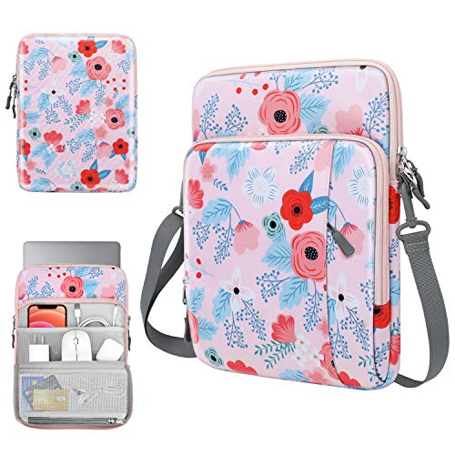 TiMOVO 13.3 Inch Tableta Funda de Tableta para iPad Pro 12.9 2021/2020, MacBook Air 13 Inch, MacBook Pro 13', Galaxy Tab S7+, Surface Pro X/7/6/5/4/3, Portátil con Múltiples Bolsillos, Primavera Rosa
