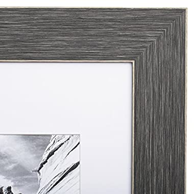 8x10 Picture Frame Barnwood Grey - Matted to 5x7, Frames by EcoHome