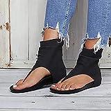 LLKJT Sandals Signore Toe Piatto Cartella delle Donne di Roma Ad Alta Gang Spina di Pesce Scarpe Infradito Sandali della Spiaggia Confortevole Sandali,Nero,36
