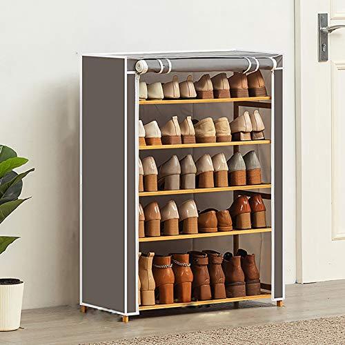 Estante De Zapatos De 5 Niveles,Organizador De Almacenamiento De Zapatos Con Cubierta De Tela Oxford,Armario De Almacenamiento De Zapatos Impermeable Estante De Zapatos De Ahorro D-Gris. 70x28x90cm