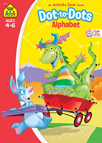 Price comparison product image School Zone - Dot-to-Dots Alphabet Workbook - Ages 4 to 6,  Preschool to Kindergarten,  Connect the Dots,  Letter Puzzles,  ABCs,  Alphabetical Order,  and More (School Zone Activity Zone® Workbook Series)