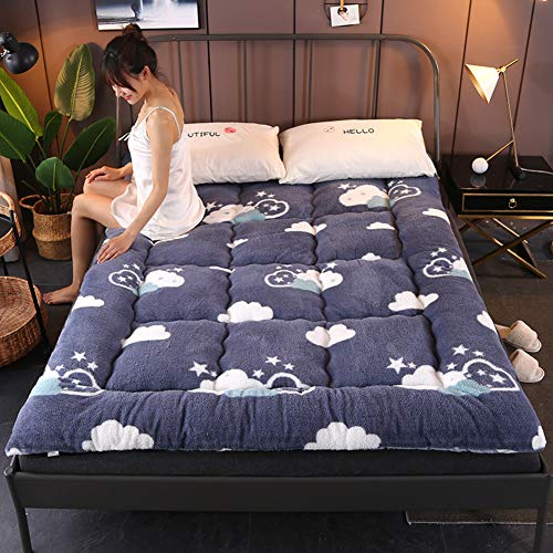 YUMUO Thicken Futon Tatami Mattress, Folding Sleeping Floor Mat Comfort Quilted Mattress Topper Pad For Single Double Roll Up Bed-d 200x220cm(79x87inch)
