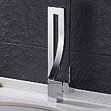 Doccia Modern Waterfall Bathroom Faucet 360 deg;Rubinetto per lavabo girevole Miscelatore monocomando per lavabo Rubinetto per lavabo Rubinetti per bagno Lavabo Ottone (nichel spazzolato), Argento