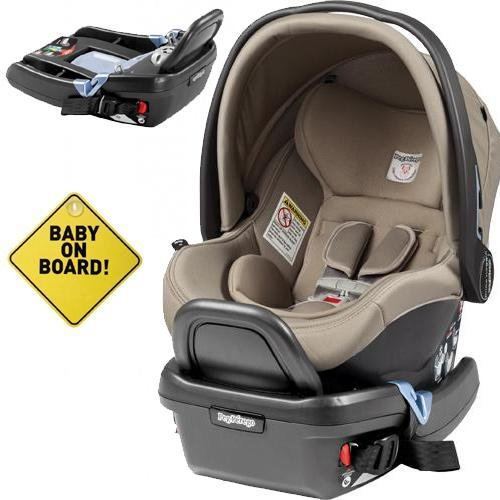 Peg Perego - Primo Viaggio 4-35 Car Seat w Extra Base and Baby on Board Sign - Cream
