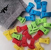 alcrea mollette. clip per calzini in lavatrice, asciugatrice, molto comode da appendere smistare e da inserire nel cassetto. in 4 colori, plastica senza acciaio, con gancio per stendibiancheria