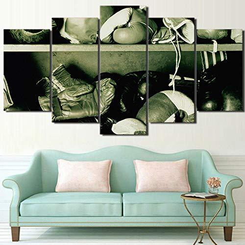 TOPRUN Boxhandschuhe Fitness-Studio Leinwandbilder 150x80 cm Vlies Leinwandbild 5 teilig kunstdrucke modern wandbilder XXL Wanddekoration Design wandbild