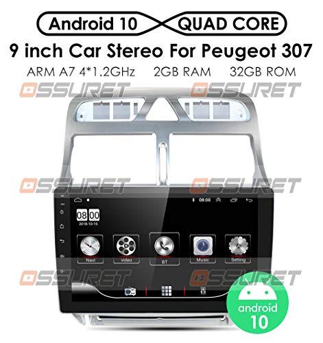 Ossuret Android 10 Radio estéreo para automóvil con Pantalla táctil de 9 Pulgadas Apta para Peugeot 307 / 307CC / 307SW 2002-2013, Control de Volante de Coche con Soporte de navegación GPS