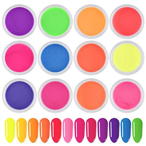 Freeorr 12 Farben Neon Phosphor Nagelpulver, Glitter Glow in the Dark Nacht Fluoreszenzpigment Dekor Nagel Beauty Tool, ultrafeiner leuchtender Nail Art Staub