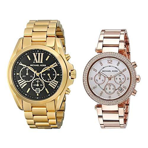 収納BOXクロノグラフゴールド×黒ピンクゴールド×シェルMK5739MK5491腕時計[並行輸入品]