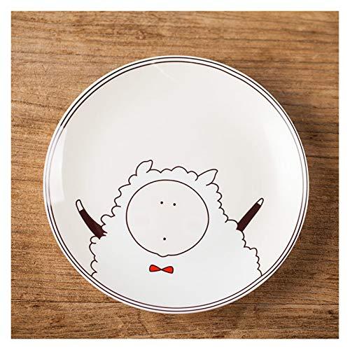 JSJJAET Plato de Cena Plato de Cena de 8 Pulgadas Redondo de Porcelana Vajilla Creativo Niños Cena Desayuno Postre Plato Pequeño Patrón de Animal (Color : G, Plate Size : 8 Inches)