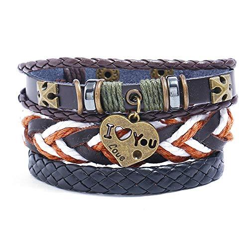 Wickelarmbänder Armreifen Bracelet Lederseil Gewebt Lederkombi Gewebt Perlen Handgefertigte Armbänder Für Männer Frauen Unisex Punk Armbänder Handgelenk Seil