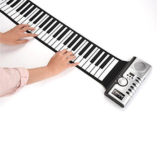 Vbest life Elektrisches Roll Up Piano mit 61 Tasten, Elektronischer Tastatur mit Zwei Netzteilen, Unterstützung für MIDI Ausgangsverbindung zum Computer, Mobiltelefon