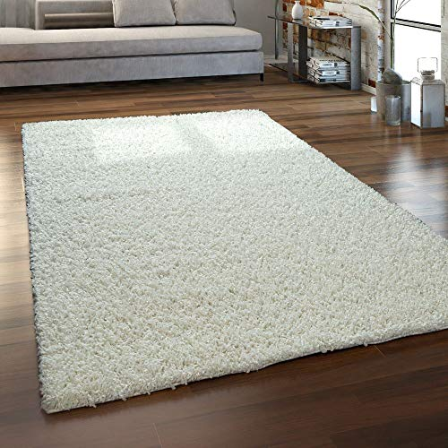Paco Home Hochflor-Teppich, Shaggy Für Wohnzimmer, Weich Flauschig Strapazierfähig Robust, Grösse:200x280 cm, Farbe:Creme