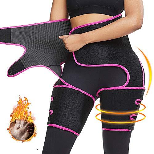 Nigecue Waist Trainer for Women Weight Loss, 3 in 1 Waist Cincher Thigh Trimmer Butt Lifter, Adjustable Sweat Slimming Body Shaper Sport Workout Girdle Belt, High Waist, Pink(M)