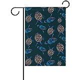 Garten Fahnen Schildkröte Muster doppelseitige Polyester Garden Home Flag Banner für Party Home Outdoor Decor 32X45.7CM