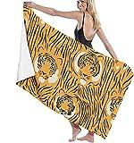 Toallas de baño con diseño de tigres de playa de vacaciones ultra suaves de gran tamaño toalla alfombra de 31 x 51 pulgadas para niños corriendo baño-blanco