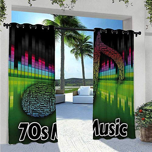 Home Curtains Acoustic Audio Vivid Colored Musical Note Harmony and Melody Soundtrack Pirnt Uv Protectant Indoor Outdoor Curtain Block The Sunlight and for Privacy Multicolor W120 x L84 Inch