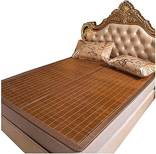 YONG FEI Bamboo Cool Matratze - Summer Faltbare doppelseitige Bambusmatte mit Kissenbezug aus Eisseide - in Sieben Grün erh lich Sommer-Schlafmatte (Größe   100X190cm)