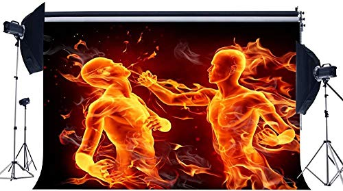 NEW Vinyl 7X5FT Flaming Boxer Backdrop Pugilist Backdrops 3D Creative Infighter Athletic Sports Interior Gymnasium Photography Background for Adults Activity Competition Photo Studio Props 616