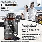 Charbon Actif Végétal de Coco 100% Naturel Extra Fort 2000 mg par Portion - 180 Gélules Vegan, Sans Additifs - Testé par Agrolab - Charbon Végétal de Poudre de Coque de Noix de Coco #1
