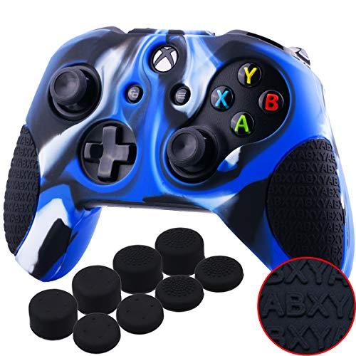 YoRHa Verdickt Gummi Silikon Hülle Skin Taschen 3D-Buchstaben-Massagegriff für Xbox One S / X Controller x 1 (Tarnung Blau) Mit Daumengriffe Aufsätze Joystick-Kappen Thumb Grip x 8