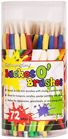 First Impressions Kids Paint Brush Set Bucket O Brushes Round Bristle Hair Brushes For Acrylics product image