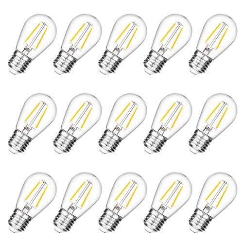VISTERLITE Shatterproof S14 Replacement LED Light Bulbs, 2W, Equivalent to 11-25 Watt, Warm White 2200K, Outdoor String Lights Vintage Edison Bulb, E26 Medium Base, 15-Pack
