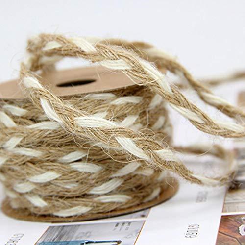 MFKW 5M Vintage Yute arpillera Cuerda Trenza cáñamo Encaje Envoltura de Regalo Cintas Boda Fiesta DIY artesanía Pendiente Cadena Material Colgante Suministro, Estilo 4