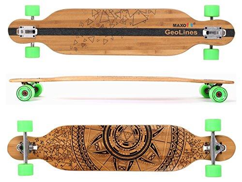 Maxofit® Longboard Geolines No.40 Drop Through, 106,5 cm, hochwertigen Bambus/Ahorn Schichten, ABEC 11 Kugellager