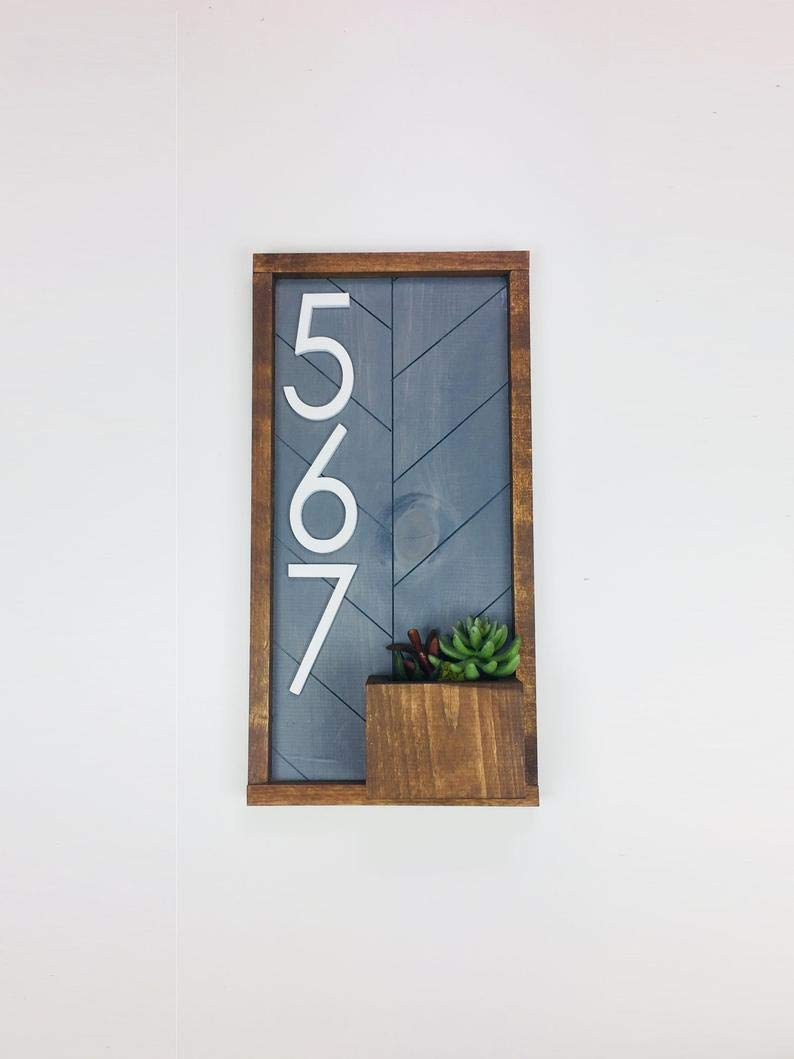 Vertical House Number Many popular brands Sign and Upg Color options 10 Planter Cheap bargain