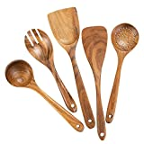 Wooden Cooking Utensils,Teak Wooden Spoons for Cooking Wood Utensil for Nonstick Cookware,Kitchen...