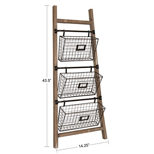 Kate and Laurel Cannon Wood and Metal Leaner Storage Basket Ladder, Rustic Brown