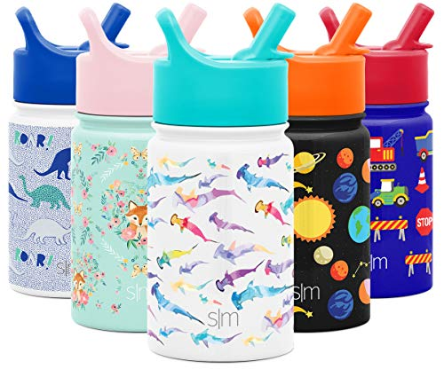 Simple Modern 10oz Summit Kids Water Bottle Thermos with Straw Lid - Dishwasher Safe Vacuum Insulated Double Wall Tumbler Travel Cup 18/8 Stainless Steel -Watercolor Sharks