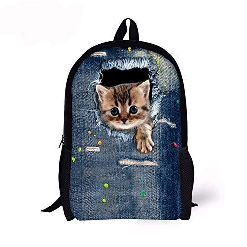 Ys-s Personalización de la Tienda Bolsas Escolares más Nuevas de los niños Fauna Gato Impresión Mochila para la Escuela Primaria Satchel Niños Mochilas (Color : CA4912C, Size : XL)