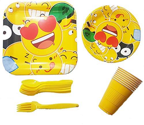Polka Dot Sky Emoji Amarillo Fiesta Cumpleaños Pack Vajilla Platos de Papel Tazas Cubiertos Colores Vibrantes 8 Paquete (38pcs)