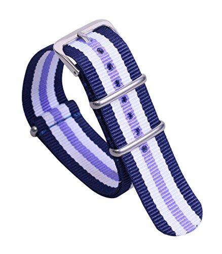 18mm Azul/Blanco de Muy Buen Gusto/Color púrpura Aspecto clásico de la de Nylon Estilo Correas de Reloj Lona Correas de los Hombres Suaves