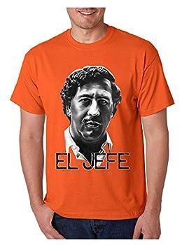 ALLNTRENDS Men s T Shirt Pablo Escobar Face Cool Stuff Popular T Shirt  S Orange