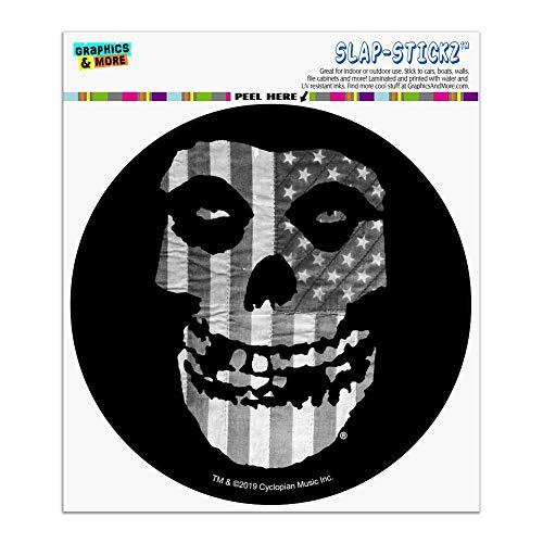 Misfits Gray American Flag Fiend Skull Logo Automotive Car Window Locker Circle Bumper Sticker