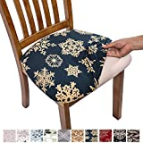 Comqualife Stretch Printed Dining Chair Seat Covers, Removable Washable Anti-Dust Upholstered Chair Seat Cover for Dining Room, Kitchen, Office (Set of 4, Blue Snowflake)