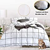 Jumeey White Comforter Set Queen Plaid Checkered Comforter Full Cotton Men Women White and Black Buffalo Check Grid Bedding Comforter Sets Teens Boys Girls Modern Gingham Quilt 3 PCS Full Size Bed Set