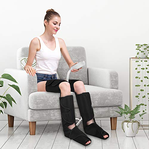 QUINEAR Leg Massager for Circulation, Foot Calf & Thigh Wrap Massage Helpful for Muscles Relaxation and Pain Relief - 3 Modes & 3 Intensities Include 2 Extensions