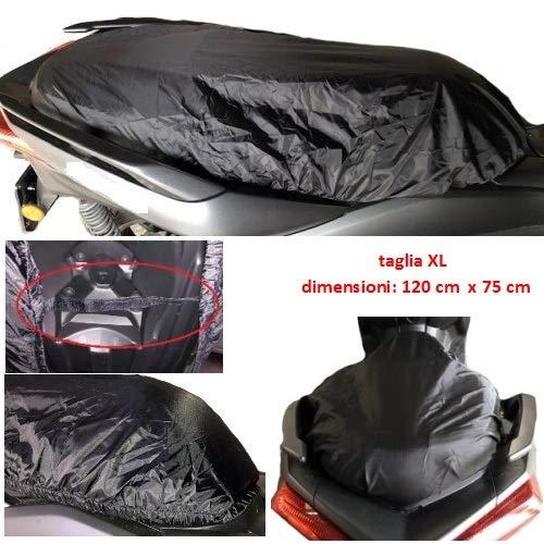 Beschermhoes voor Vespa GTV 250, waterdicht, Oxford, maat L-XL, 120 x 75 cm, universeel voor scooter, motorfiets, zwart