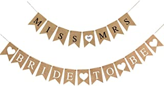 Palksky (Set of 2) Bridal Shower Banner Bride To Be Banner Miss To Mrs Burlap Banner Rustic Bunting Garland For Engagement Bachelorette Wedding Party Decorations Supplies
